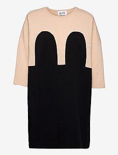 Mickey Square Dress - sommerkjoler - beige/black