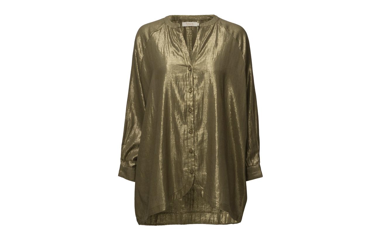 Rabens Green 18 Métallique Golden 82 Long Saloner Coton Military Sleeve Shirt Yarn q7fqvrz