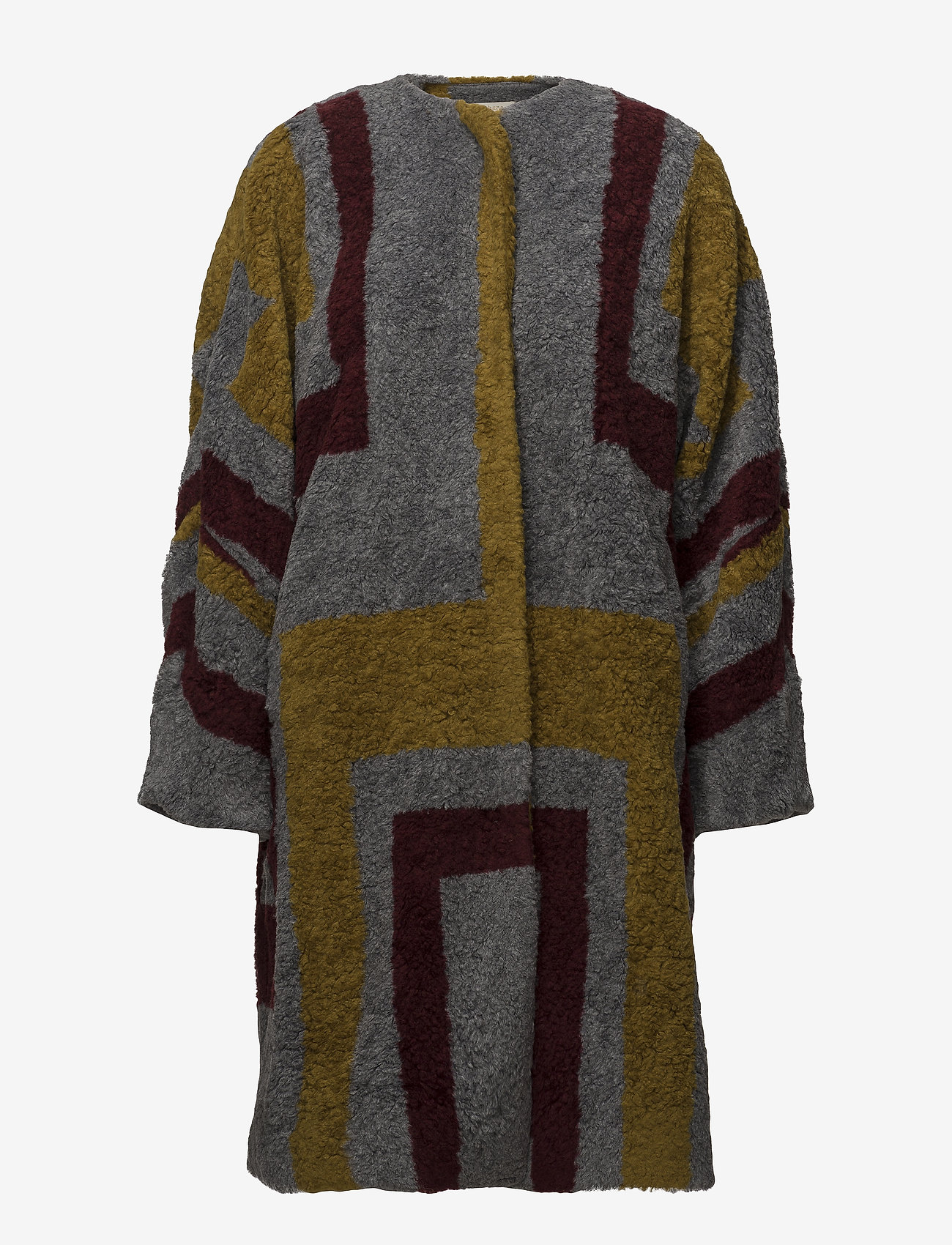 Rabens Saloner - Tribal knit coat - wollen jassen - bordeaux - 0