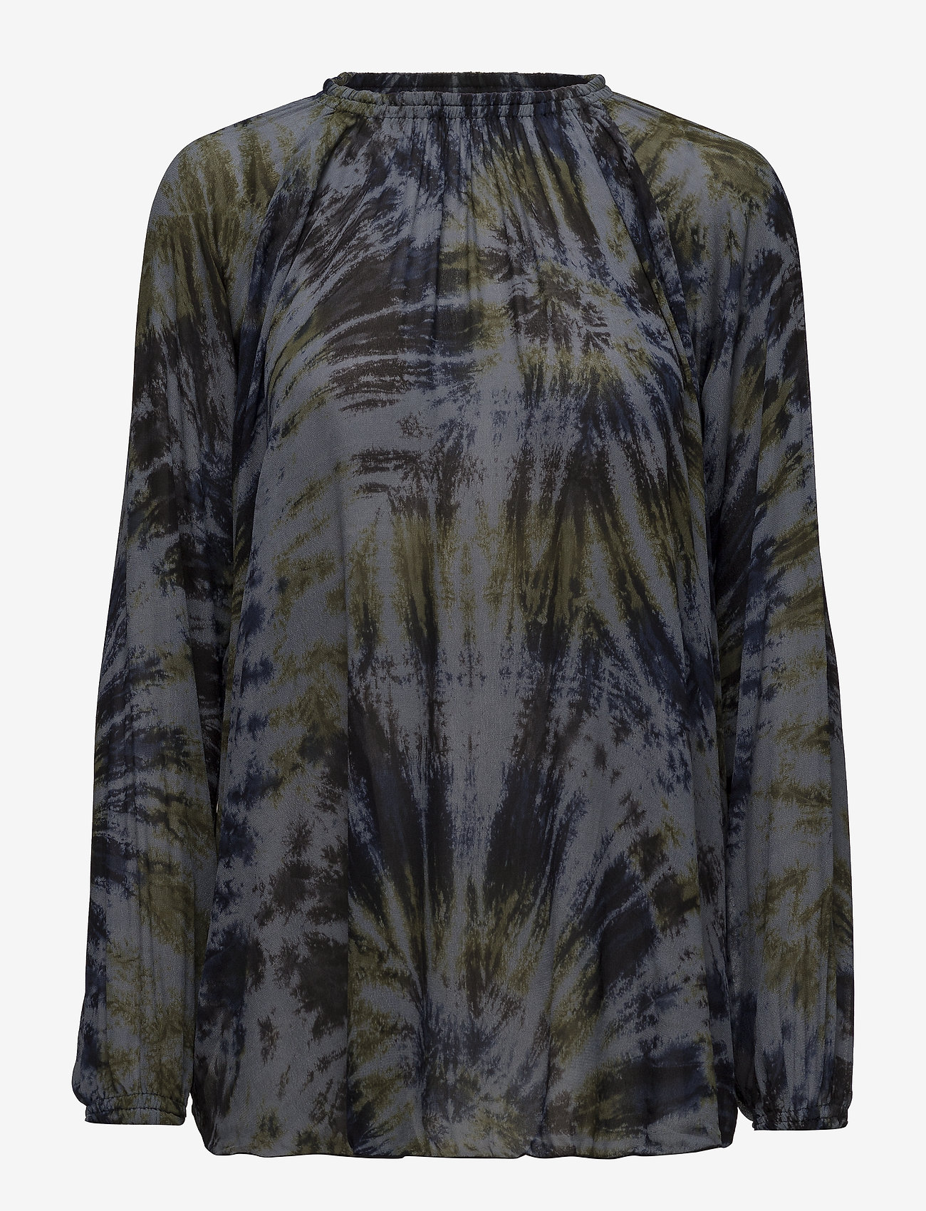 Rabens Saloner - Abstract blouse - long sleeved blouses - navy - 0