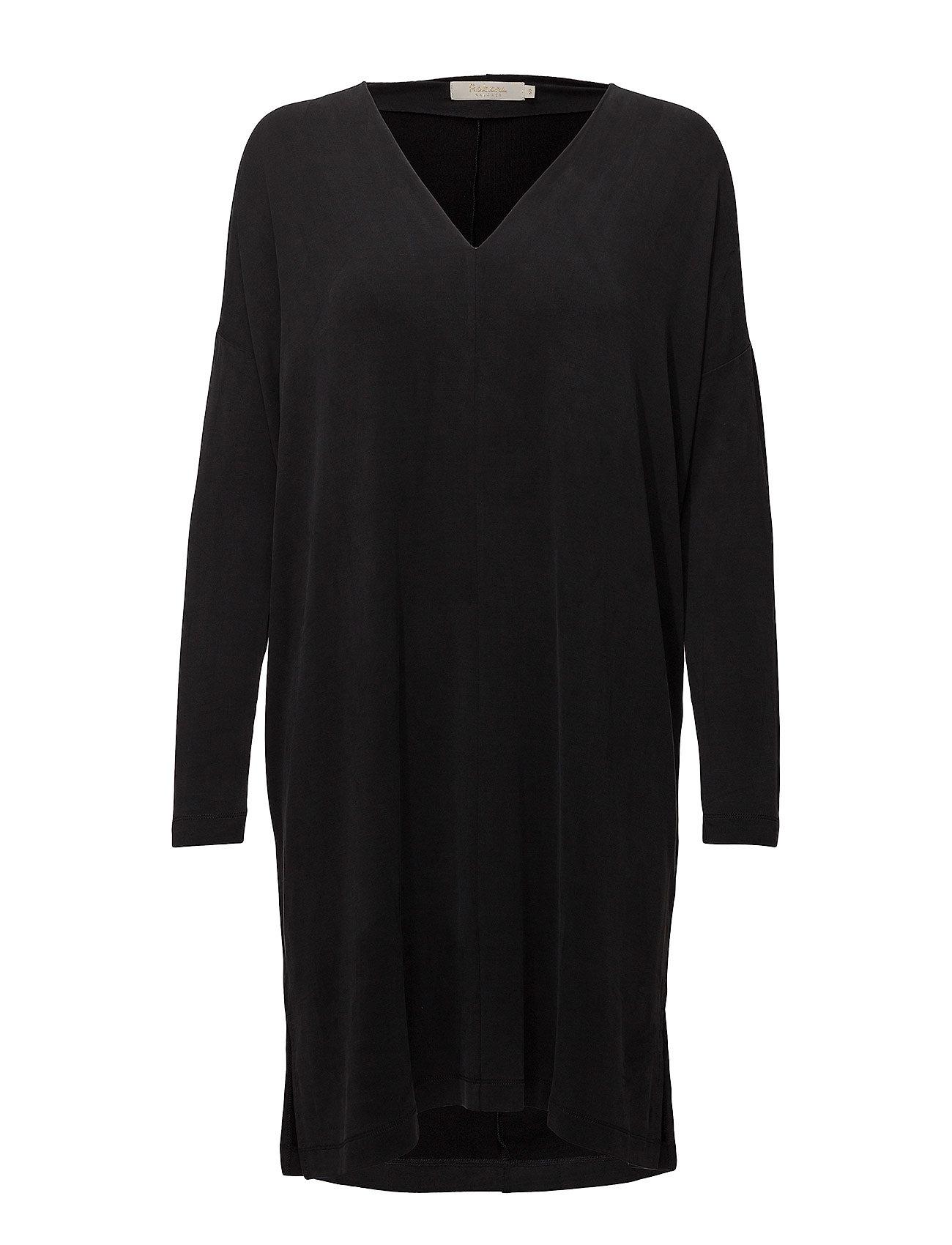 Rabens Saloner Curved scarf dress - BLACK