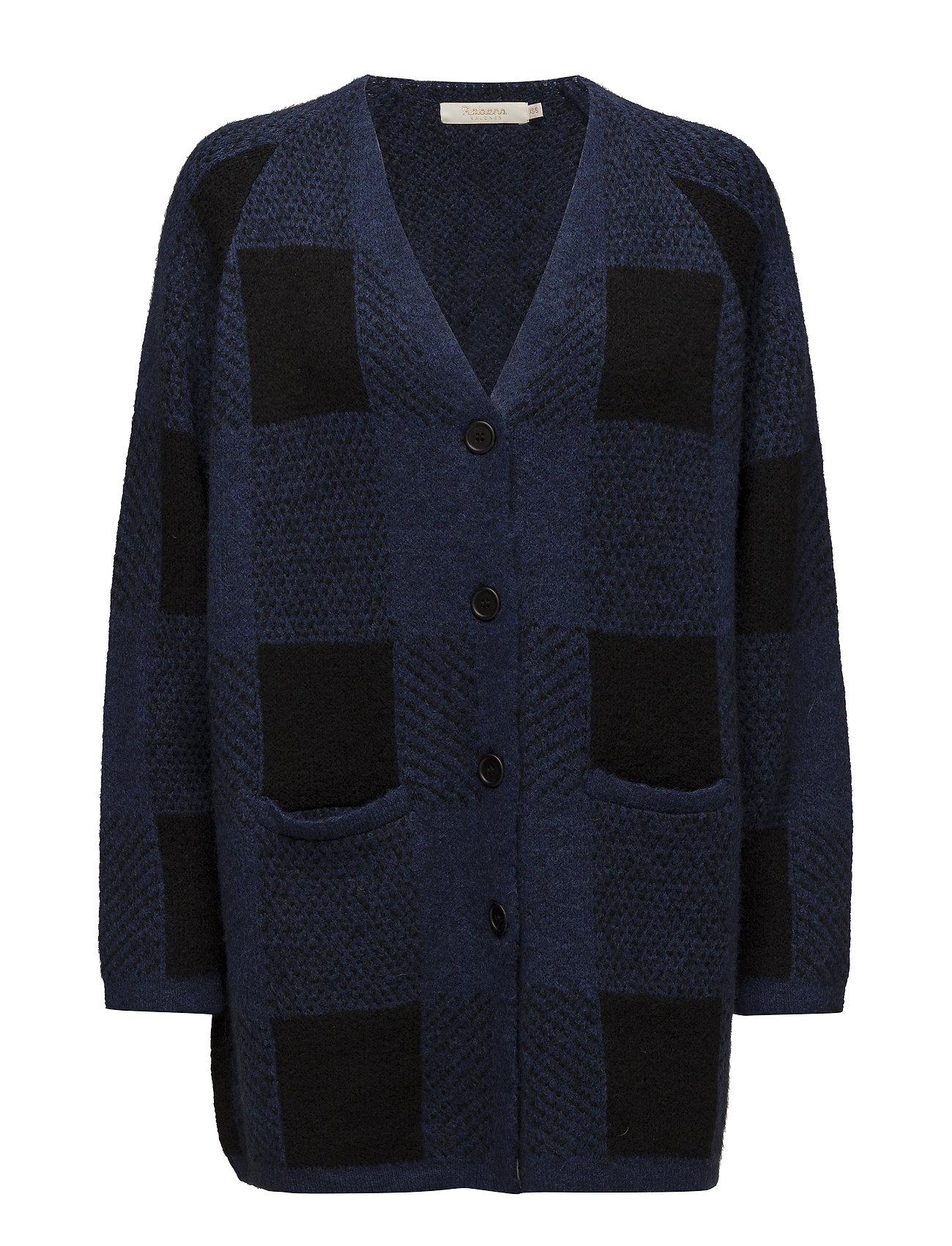 Rabens Saloner Blurred check cardigan - BLUE