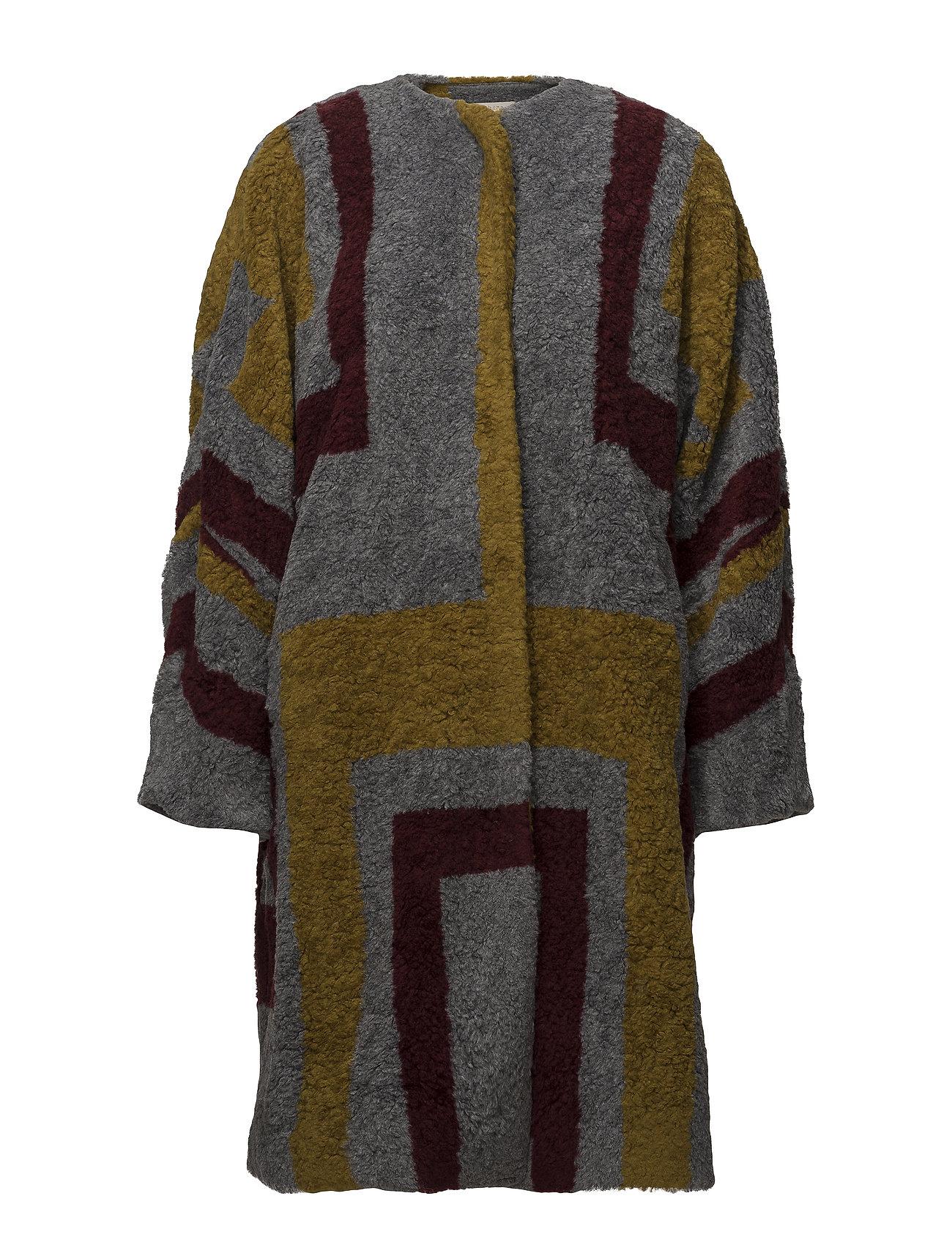 Rabens Saloner Tribal knit coat - BORDEAUX