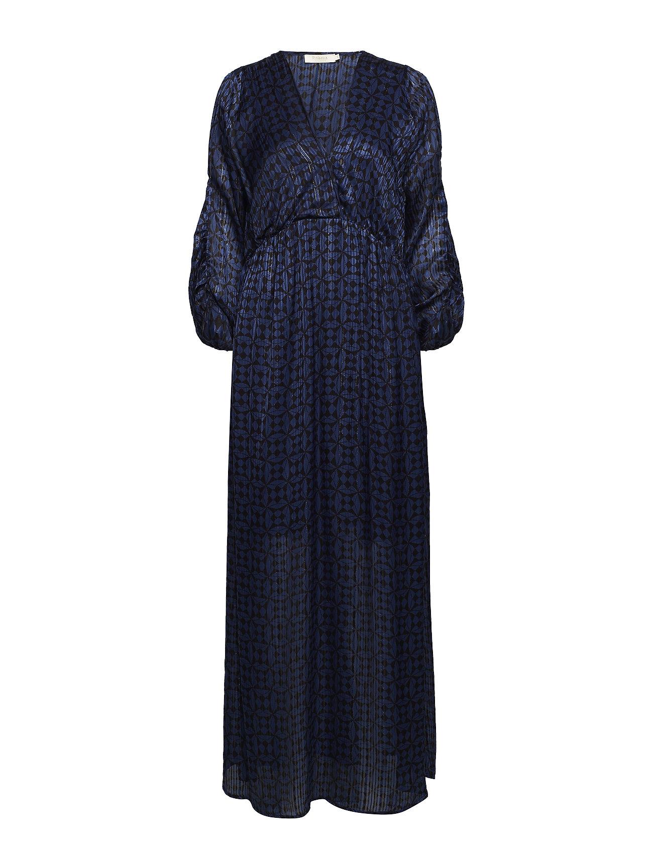 Rabens Saloner Graphic lurex long dress - BLUE