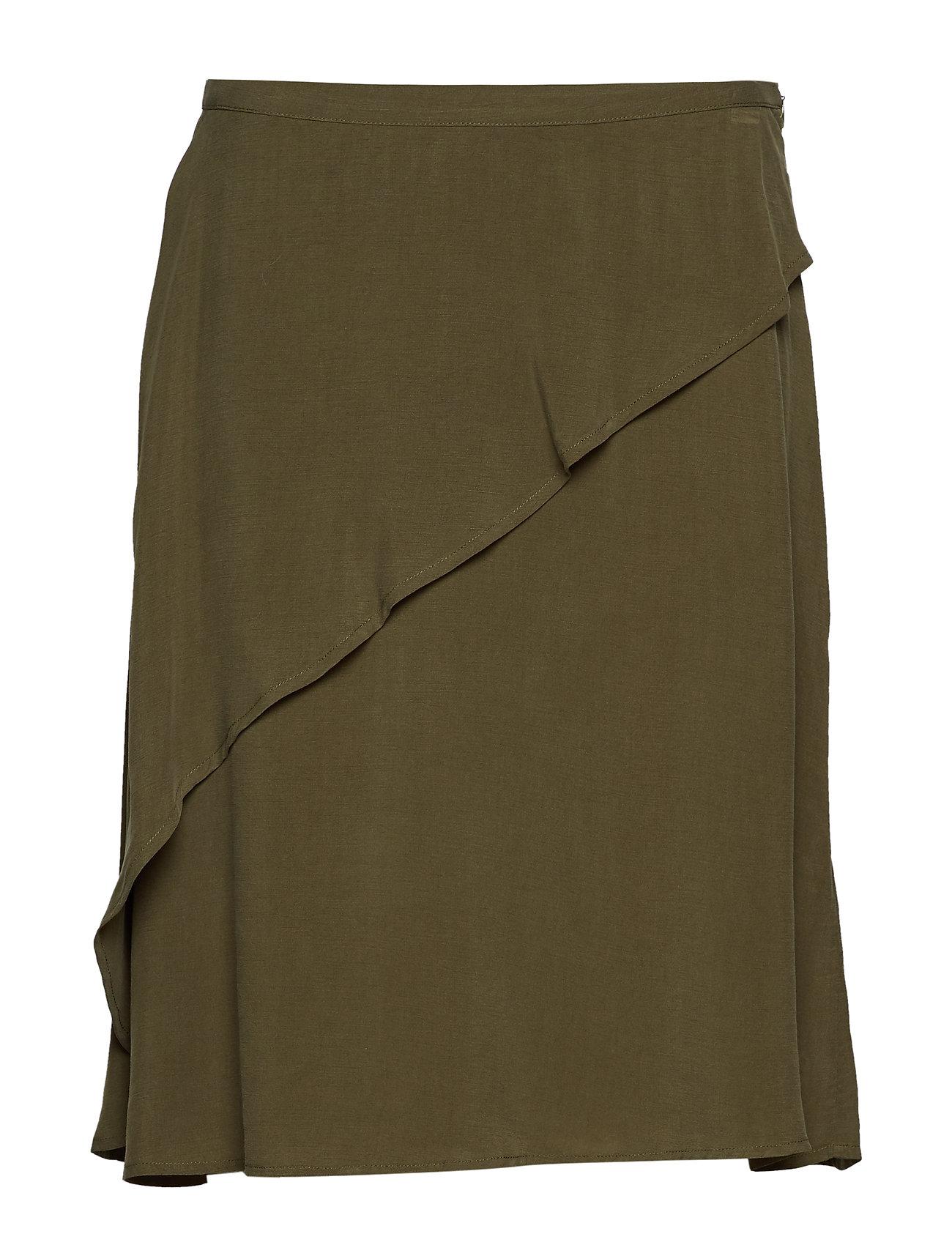 Rabens Saloner Sand washed draped skirt - GREEN