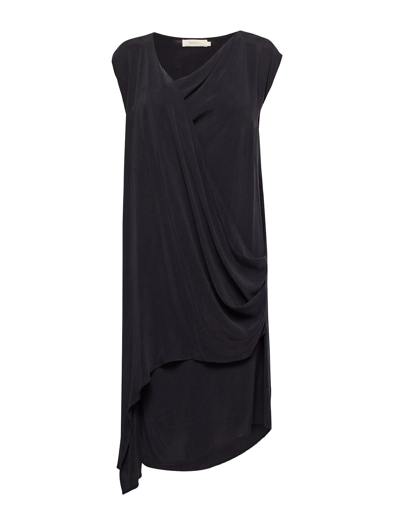 Rabens Saloner Sand washed short dress - BLACK