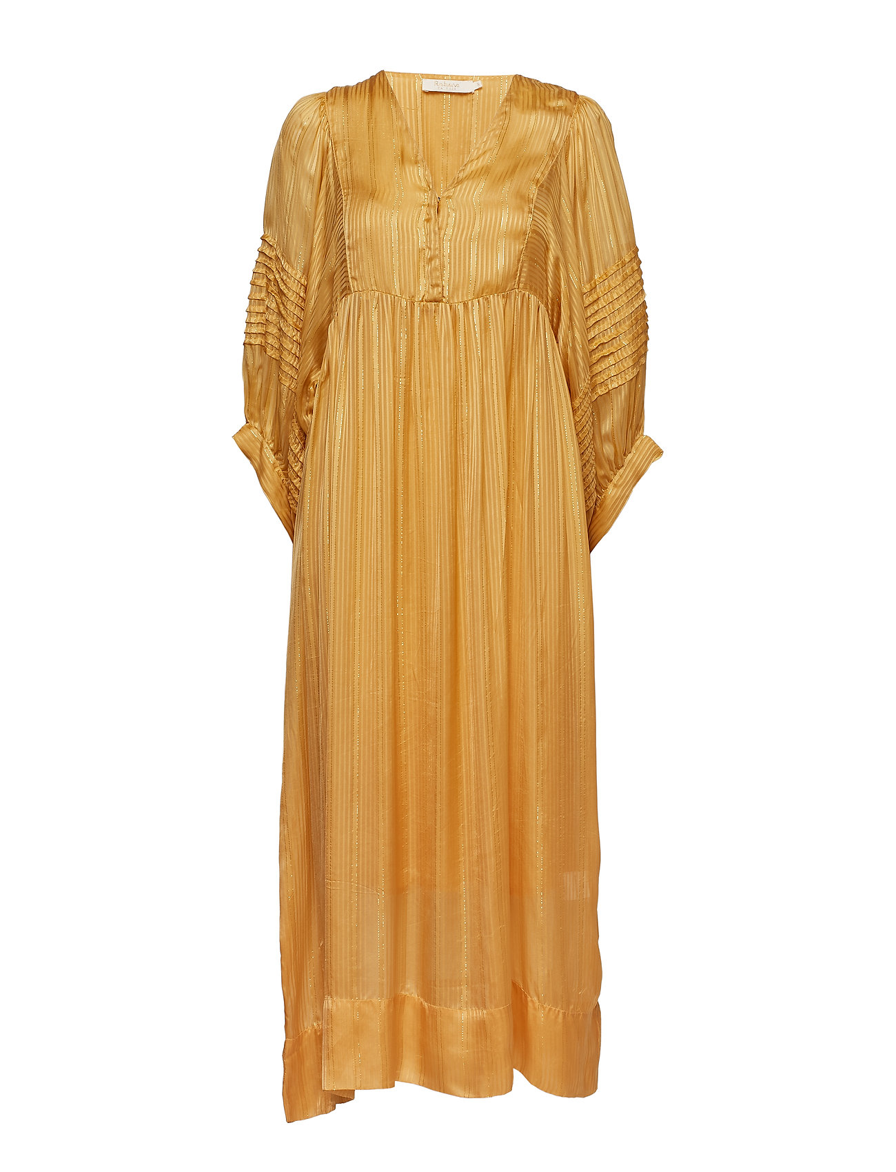 Rabens Saloner Lurex stripe ls long dress - TURMERIC