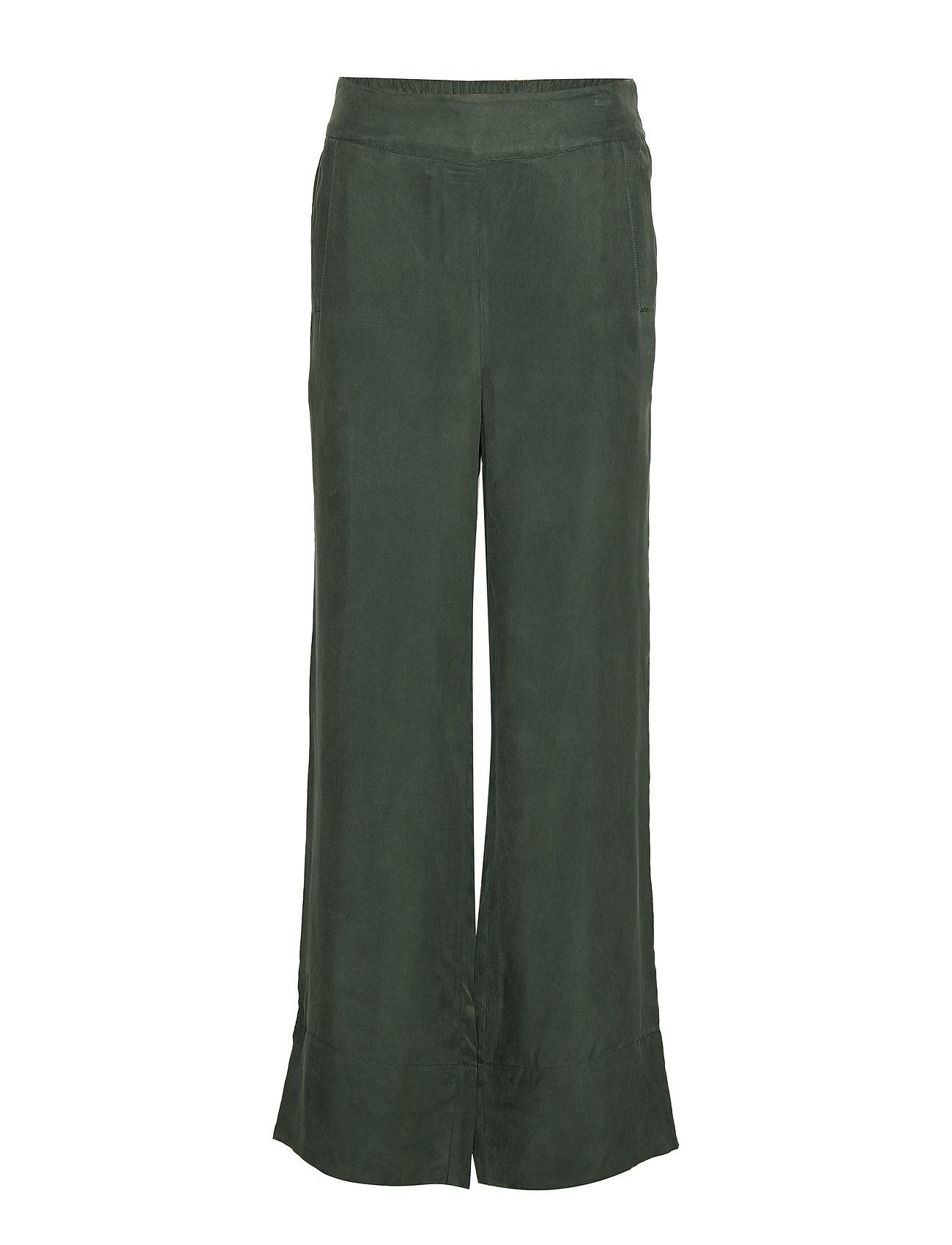 Rabens Saloner Solid matte wide leg pant - FOREST GREEN