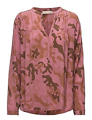 Camouflage l/s blouse - ROUGE