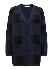 Blurred check cardigan - BLUE