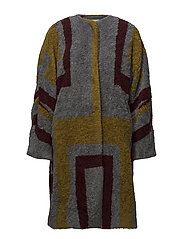 Tribal knit coat - BORDEAUX