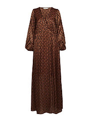 Graphic lurex long dress - CARAMEL