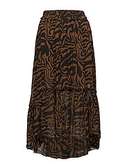 Safari frilly skirt - COGNAC