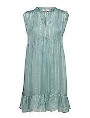 Lurex stripe s sl short dress - SILVER BLUE