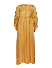Lurex stripe ls long dress - TURMERIC
