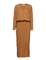 Crinkle wrap over dress L/S - COGNAC