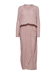 Crinkle wrap over dress L/S - LILAC