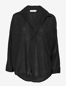 Cotton placket shirt - BLACK