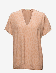 Bright leopard blouse - PINK SAND