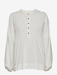 Cotton pintuck top - WHITE