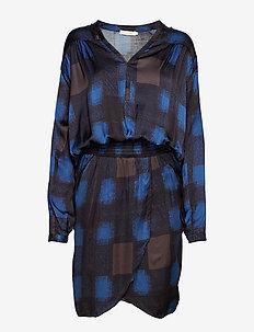 Geometric wrapover short dress - BLUE