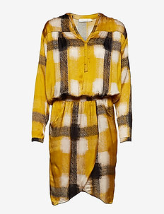 Geometric wrapover short dress - YELLOW