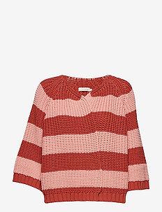 Rope stripe knit jacket - ROSE STRIPED