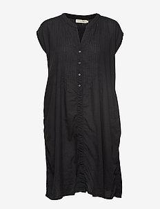 Cotton pintuck short dress - BLACK