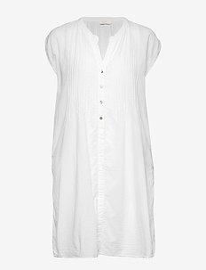 Cotton pintuck short dress - WHITE