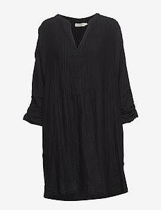 Cotton pintuck OS dress - BLACK