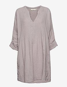 Cotton pintuck OS dress - CLOUDY GREY