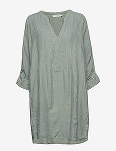 Cotton pintuck OS dress - LIGHT MOSS