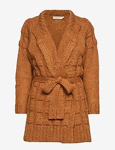 Croc knit cardigan - CARAMEL