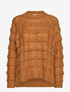 Croc knit boxy sweater - CARAMEL