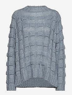 Croc knit boxy sweater - ICE BLUE