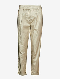 Foil crease cropped pants - ANTIQUE GOLD
