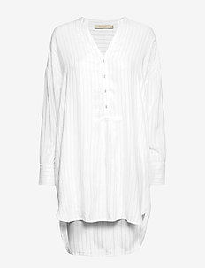Glitter line oversize shirt - BLUE/OFF WHITE