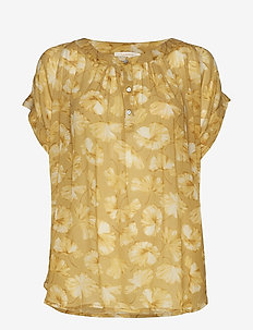 Flower print top - YELLOW