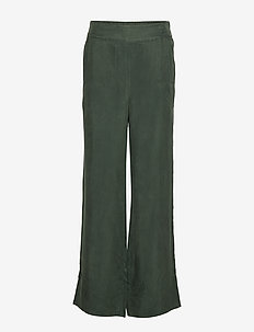 Solid matte wide leg pant - FOREST GREEN
