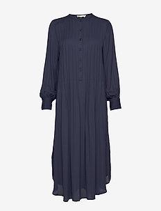 Tuck long dress - NIGHT BLUE