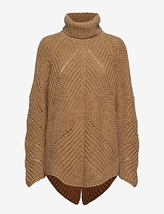 Giant cable OS RN sweater - CARAMEL