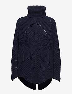Giant cable OS RN sweater - NAVY