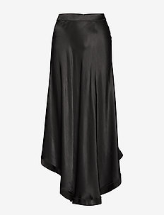 Raw satin skirt - BLACK