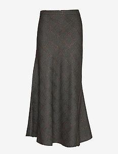 Faded check bias skirt - GREEN