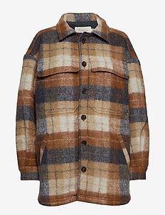 Checked shirt jacket - CHESTNUT