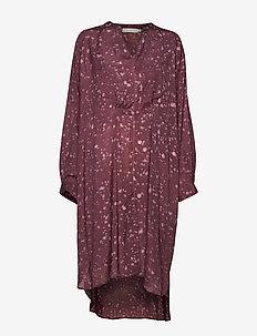 Ink spot oversize shirt dress - EGGPLANT