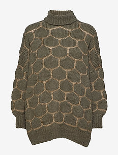 Honey comb knit OS sweater - GREEN