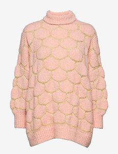 Honey comb knit OS sweater - PALE PINK