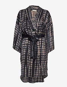 Smokey kaftan dress - BLACK/GREY