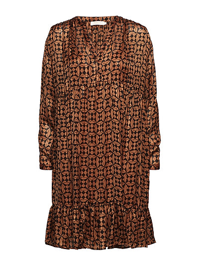 Graphic lurex dress - CARAMEL
